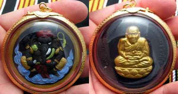Amulette Thai de luang phor thuat et ganesh.