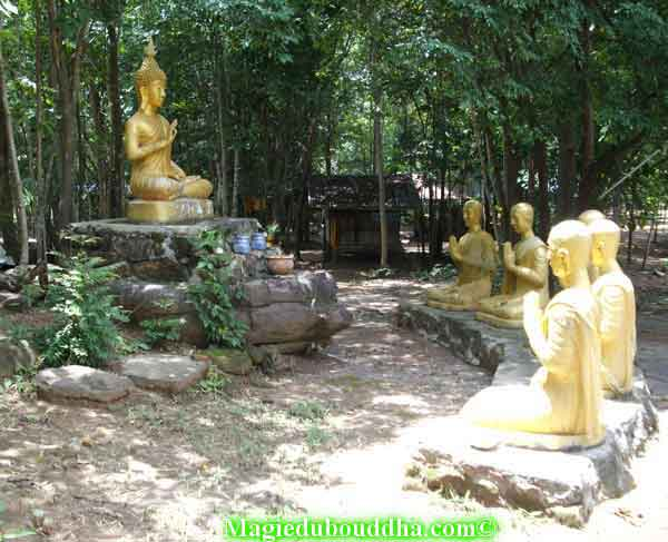 bouddha et disciples de temple thai